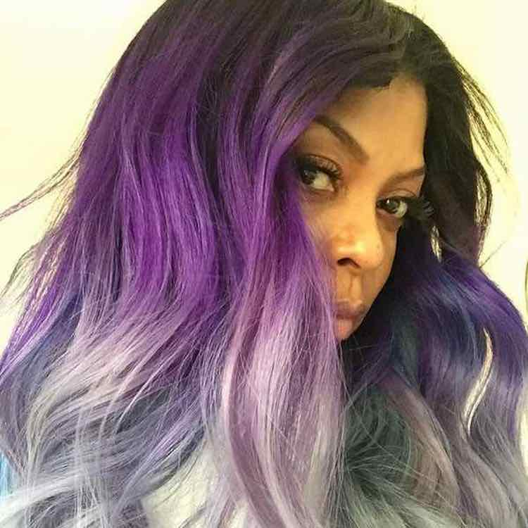 Taraji purple grey blue ombre hair