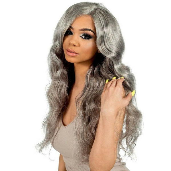 gray body wave hair extensions