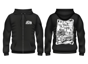 ICW Fear and Loathing XII (Black/White) Logo Unisex Full Zip Hoodie
