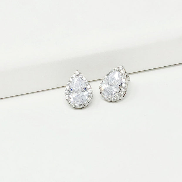Charlize Pear-wedding studs-Astor Chic