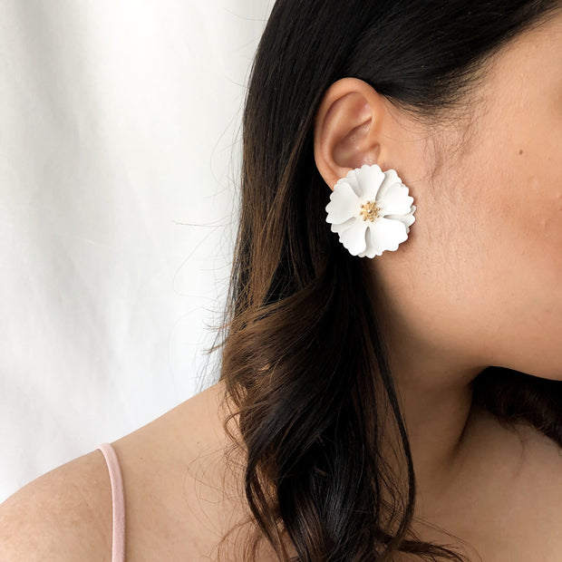 Avery White Earrings