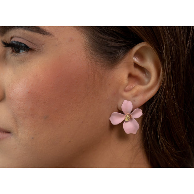 Chloe Pink Floral Studs-jewelry-Astor Chic