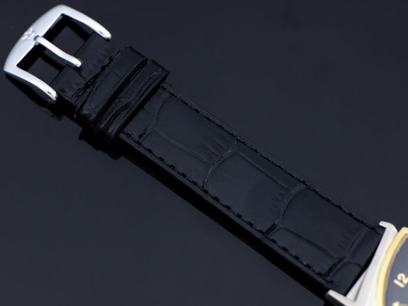 Alligator Grain Black Watch Band With Silver Tone Buckle