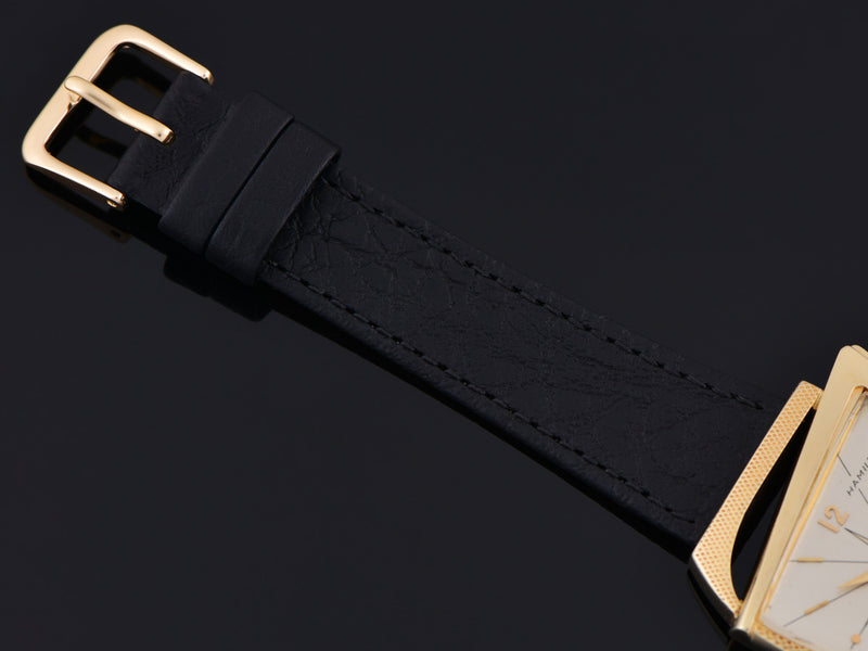 Brand New Genuine Leather Black Calf Grain Watch Strap with matching Gold Tone Buckle