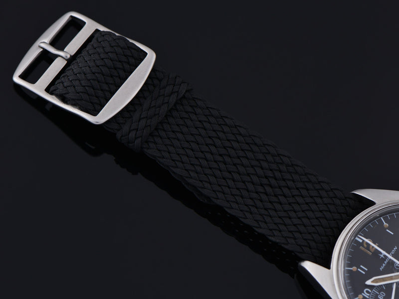 Black Mesh Watch Strap with matching silver tone buckle