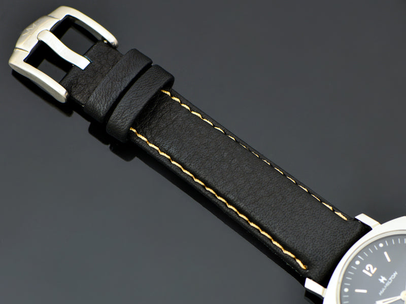 Brand New Genuine Bull Leather Black Watch Band with matching stainless steel buckle