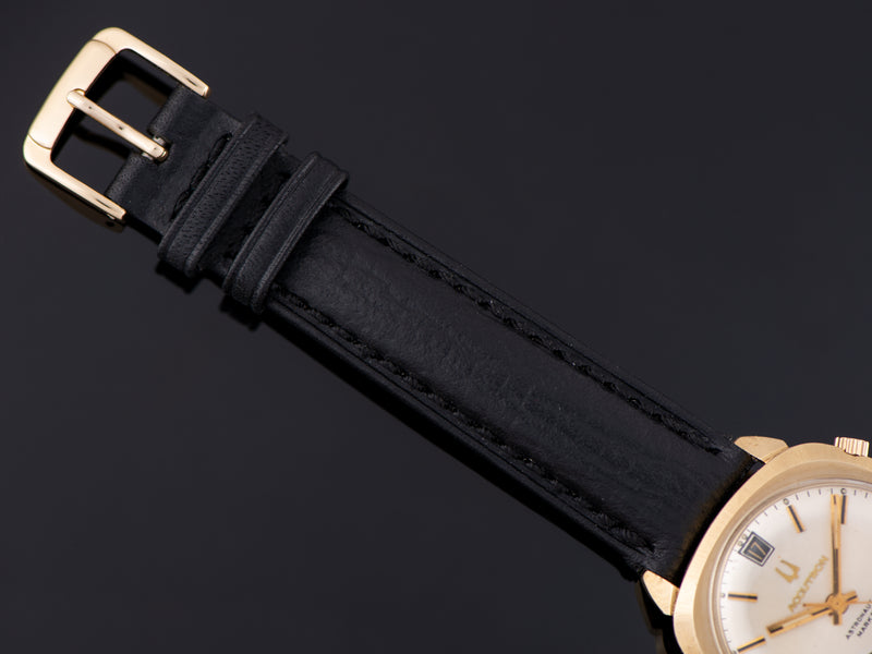 Brand New Genuine Italian Leather Black Hadley Roma Strap with matching Gold Tone Buckle