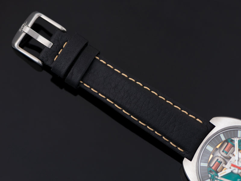 Brand New Genuine Leather Black Alligator Grain Watch Strap With Steel Buckle
