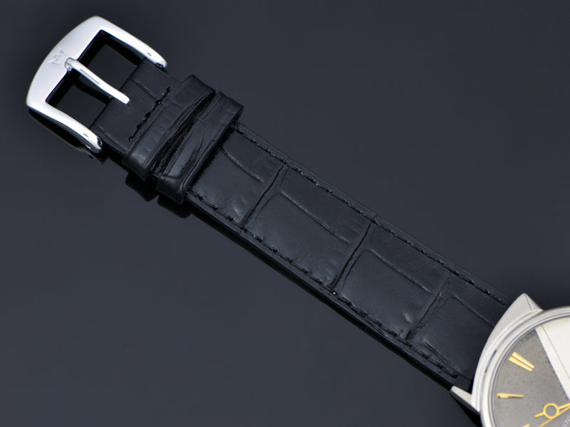 Brand New Genuine Leather Black Alligator Grain watch band with matching Gold Colored Buckle