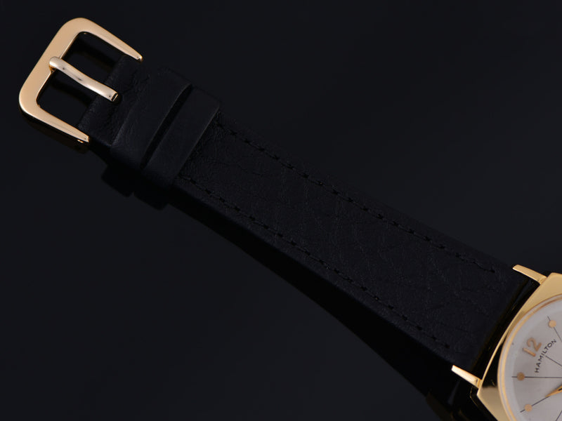 Brand New Genuine Leather Black Buffalo Grain Watch Band with matching gold tone buckle
