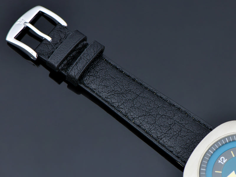 Brand New Genuine Leather Black Buffalo Grain Watch Band with Silver Tone Buckle