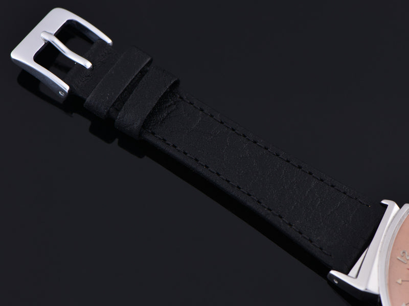Brand New Genuine Leather Black Calf Grain Watch Strap With Matching Silver Tone Buckle