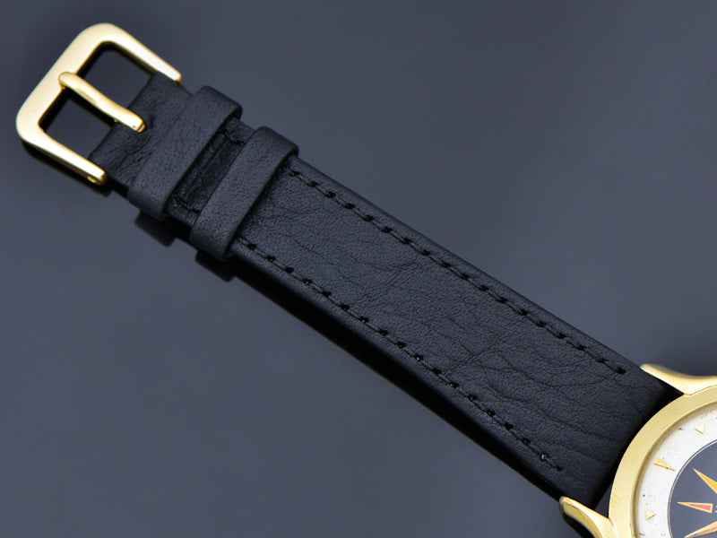 Brand New Genuine Leather Black Calf Skin Watch Band with matching Gold Colored Buckle