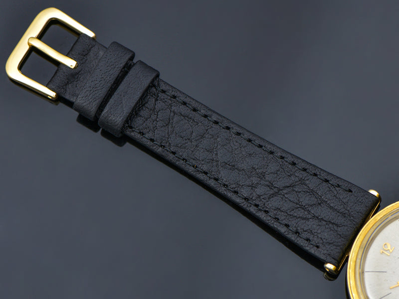 Brand New Genuine Leather Black Calf Skin Watch Band with matching Gold Tone Buckle