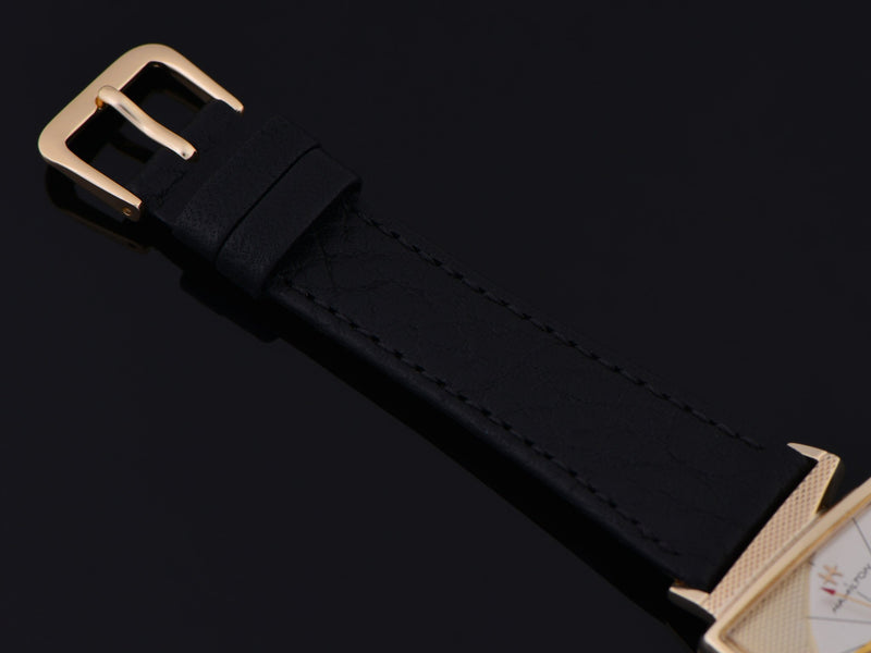Brand New Genuine Leather Black Calf Watch Strap with Matching Gold Tone Buckle