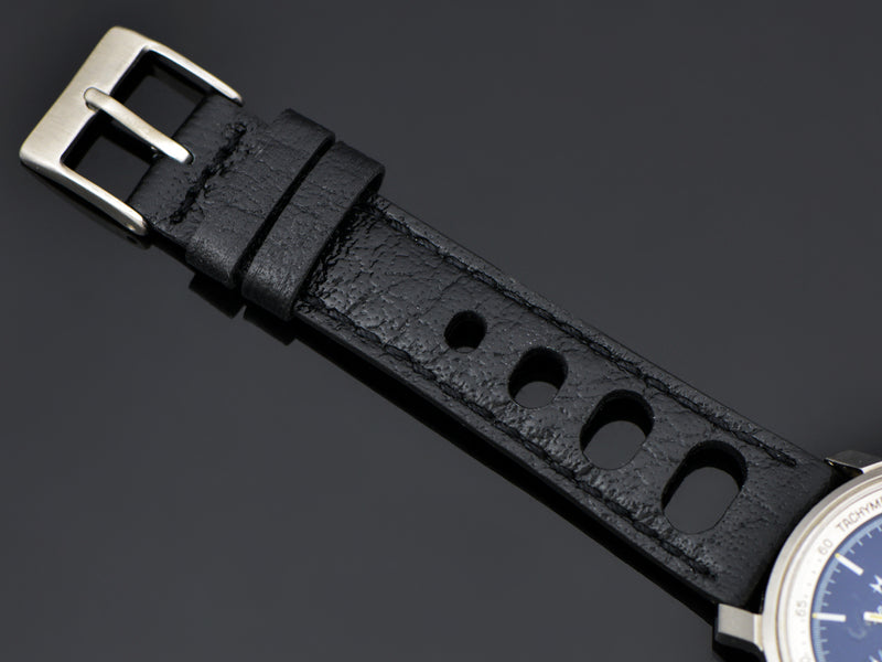 Brand New Genuine Leather Black Rally Strap with Stainless Steel Buckle