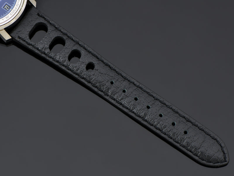 Brand New Genuine Leather Black Rally Watch Strap with Stainless Steel Buckle