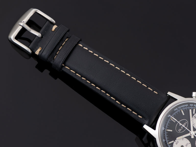 Brand New Genuine Leather Black Strap with Silver Tone Buckle