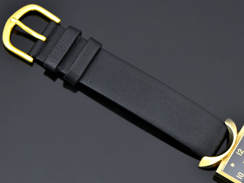 Brand New Genuine Leather Black Watch Strap with matching gold tone buckle