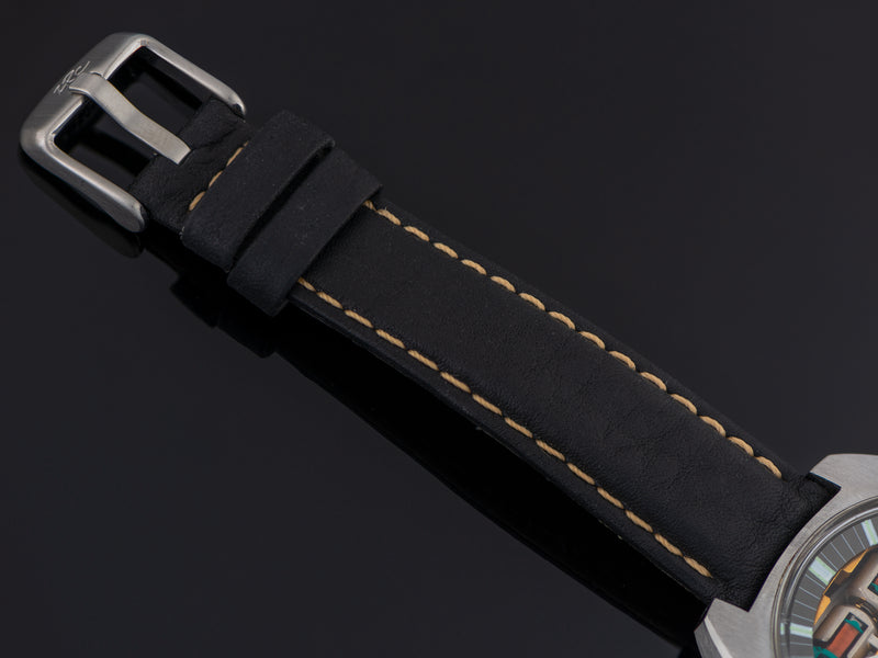 Brand New Genuine Leather Black Strap with steel buckle