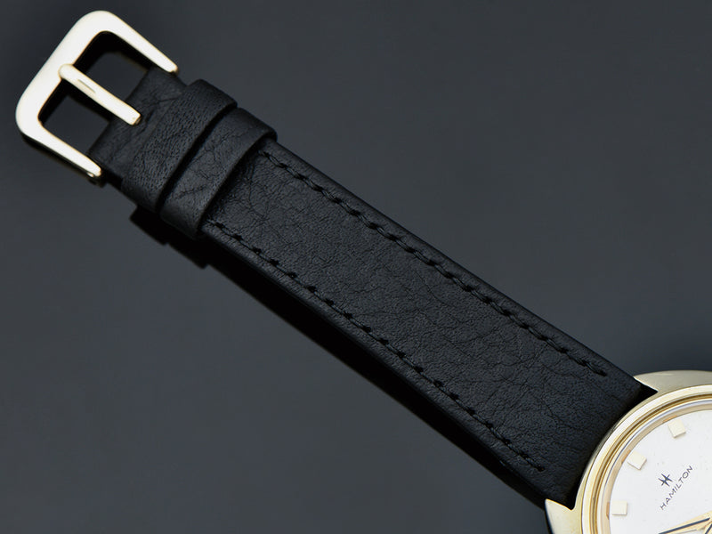 Brand New Genuine Leather Black Watch Band with matching Gold Tone Buckle