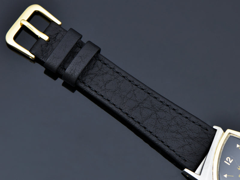 Brand New Genuine Leather Black Watch Strap With Gold Tone Buckle