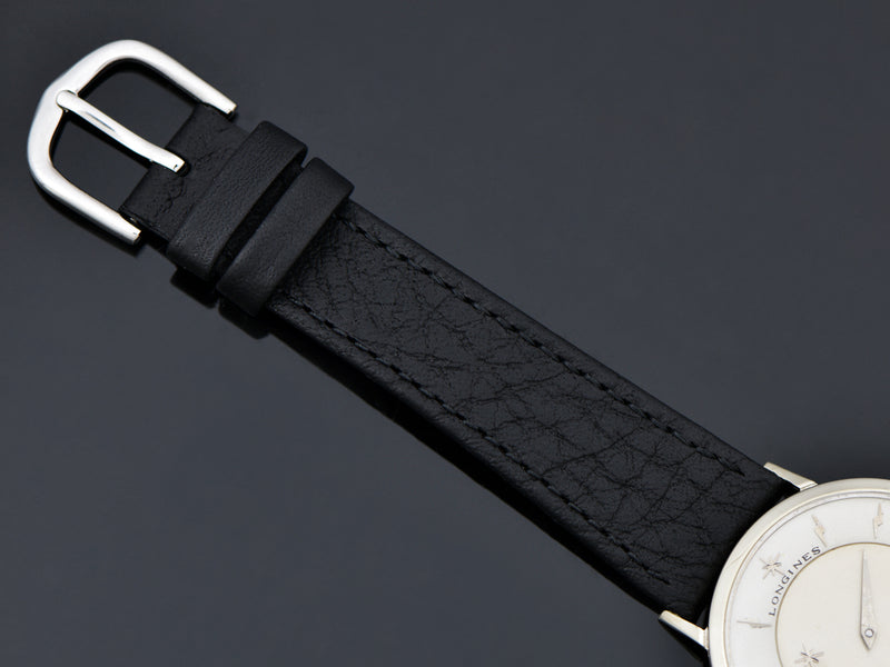 Brand New Genuine Leather Black Band with matching Silver Tone Buckle