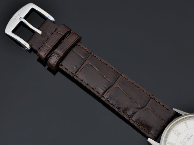 Brand New Genuine Leather Brown Alligator Grain Watch Strap with matching Silver Tone Buckle