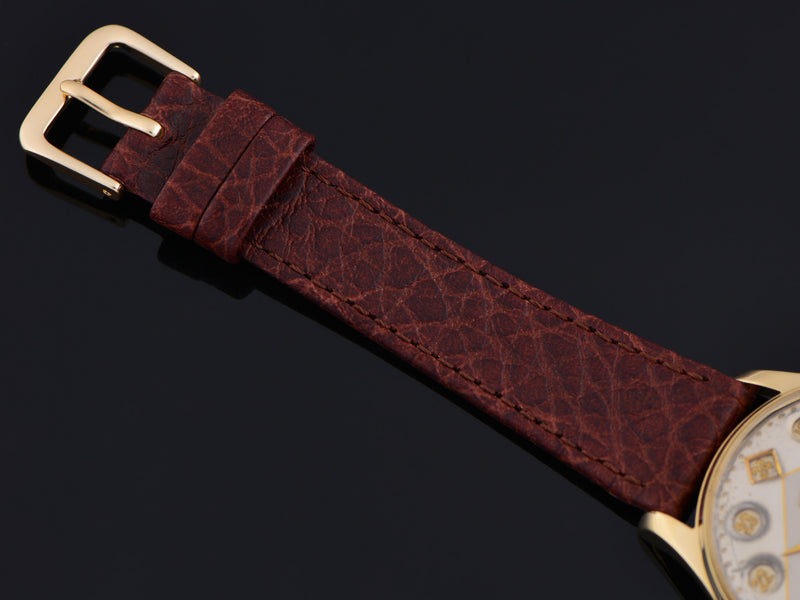 Brand New Genuine Leather Brown Calf Grain Watch Strap with Gold Tone Buckle