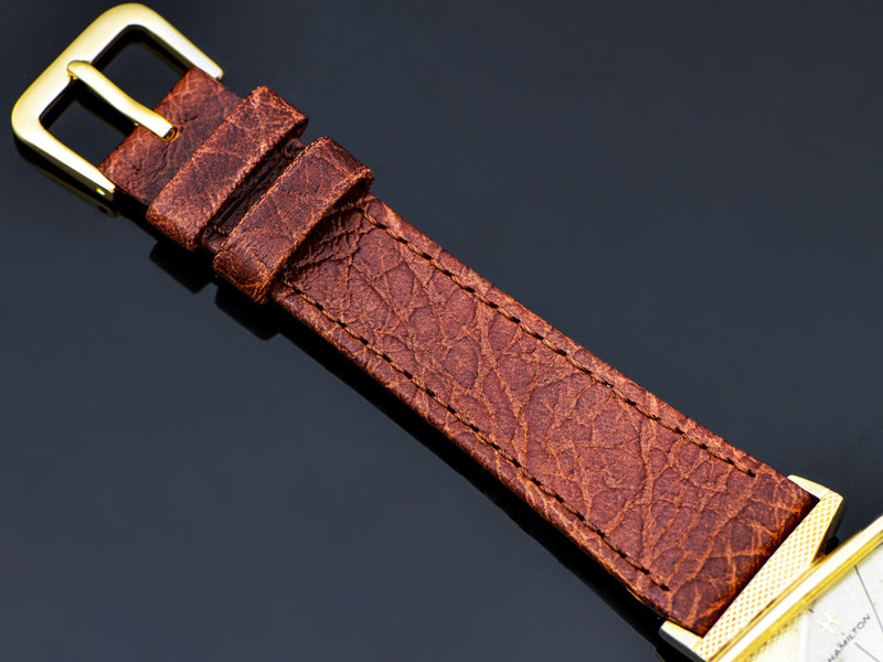 Brand New Genuine Leather Brown Calf Watch Band with Matching Gold Tone Buckle
