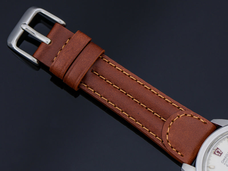 Brand New Genuine Leather Brown Watch Band with Silver Tone Buckle