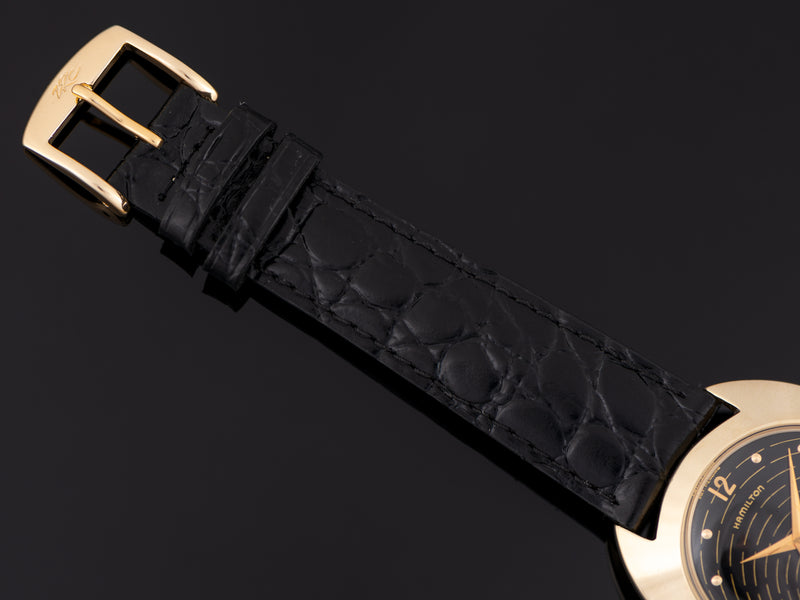 Brand New Genuine Leather Crocodile Grain Black Strap with matching Gold Tone Buckle