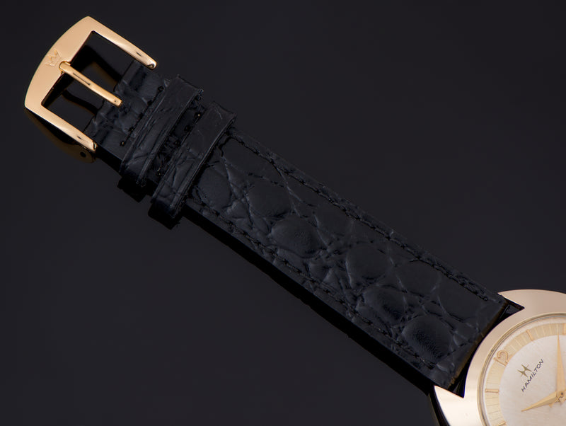 Brand New Genuine Leather Crocodile Grain Black Watch Strap with matching Gold Tone Buckle