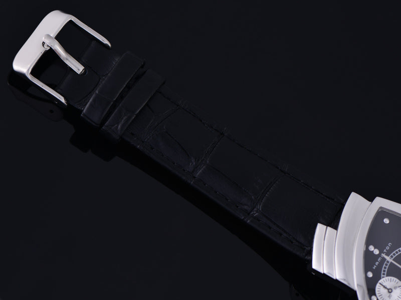 Brand New Genuine Leather Crocodile Grain Black Watch Strap with silver tone buckle