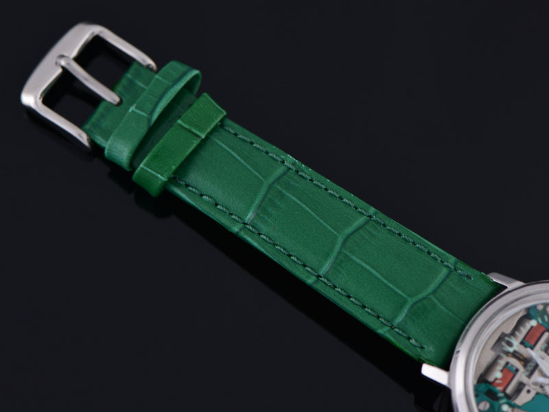 New Genuine Leather Green Crocodile Grain Watch Strap with matching Silver Tone Buckle