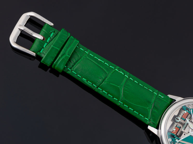 Brand New Genuine Leather Green Crocodile Grain Strap with matching Silver Tone Buckle