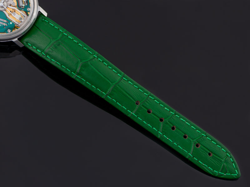 Brand New Genuine Leather Green Crocodile Grain Watch Strap