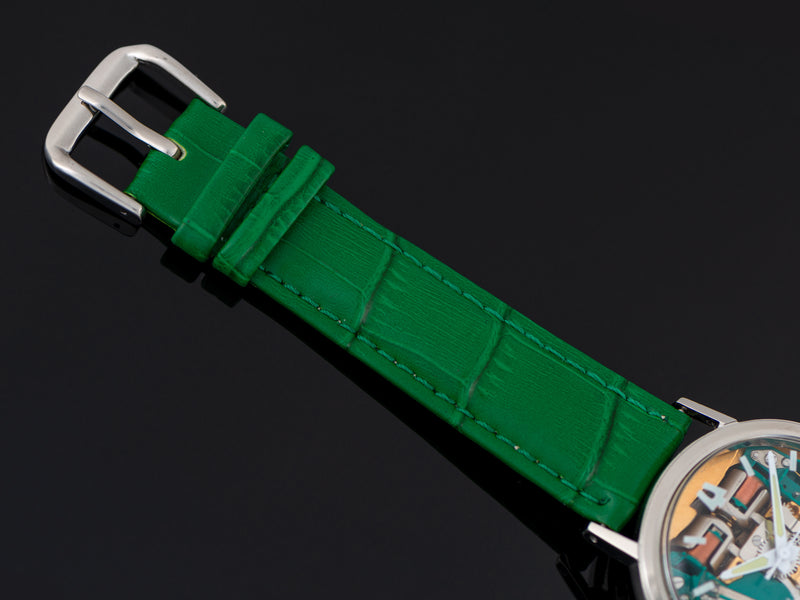 Brand New Genuine Leather Green Crocodile Grain Watch Strap with matching Silver Tone Buckle