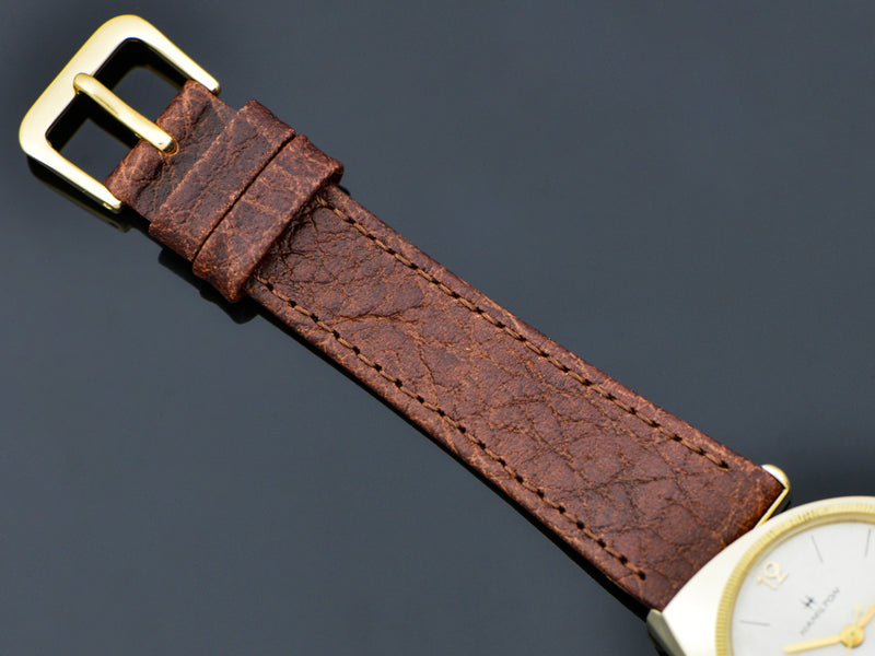 Brand New Genuine Leather Brown Buffalo Grain Watch Band with matching Gold Tone Buckle