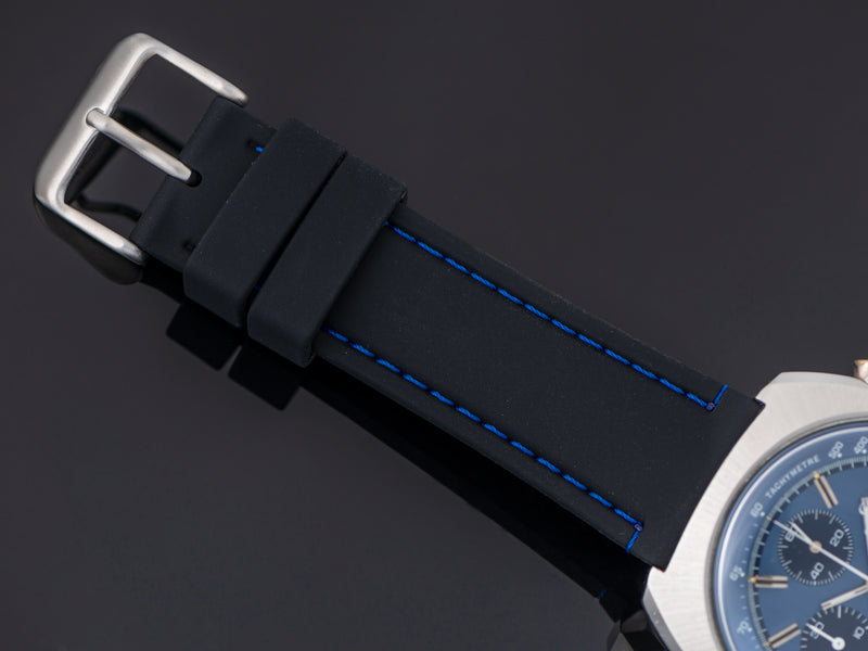 Brand New Silicon Black Strap with Blue Stitching and matching Silver Tone Buckle