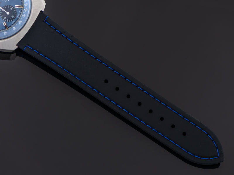 Brand New Silicon Black Strap with Blue Stitching
