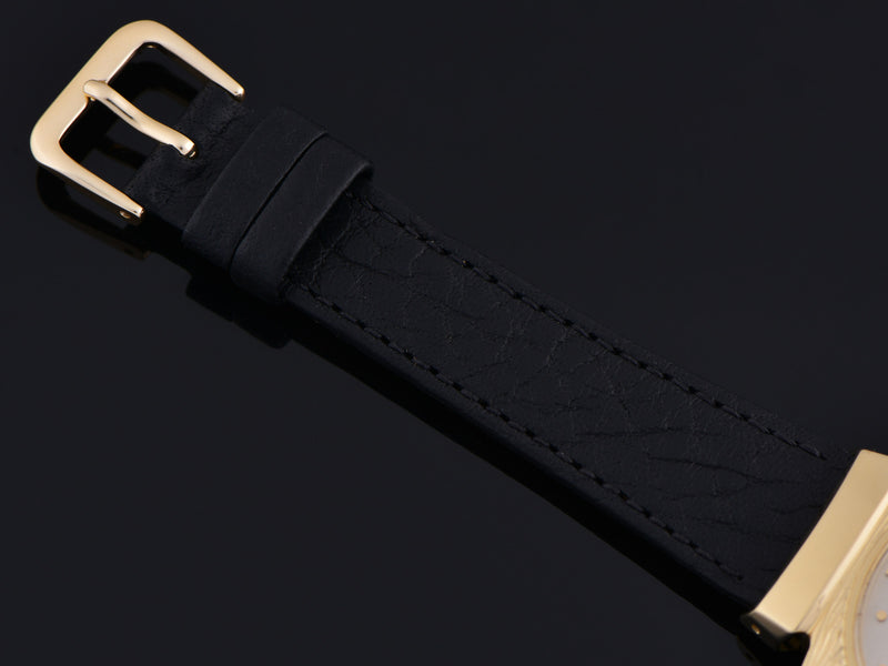 Brand new genuine Leather Black Calf Grain Watch Band with matching Gold Tone Buckle