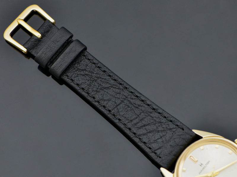 Brand New Genuine Leather Black Band with matching Gold Tone Buckle