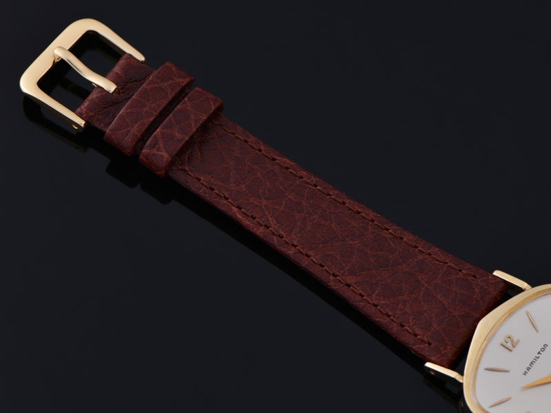 Brand new genuine Leather Brown Calf Grain Watch Strap with matching gold tone buckle