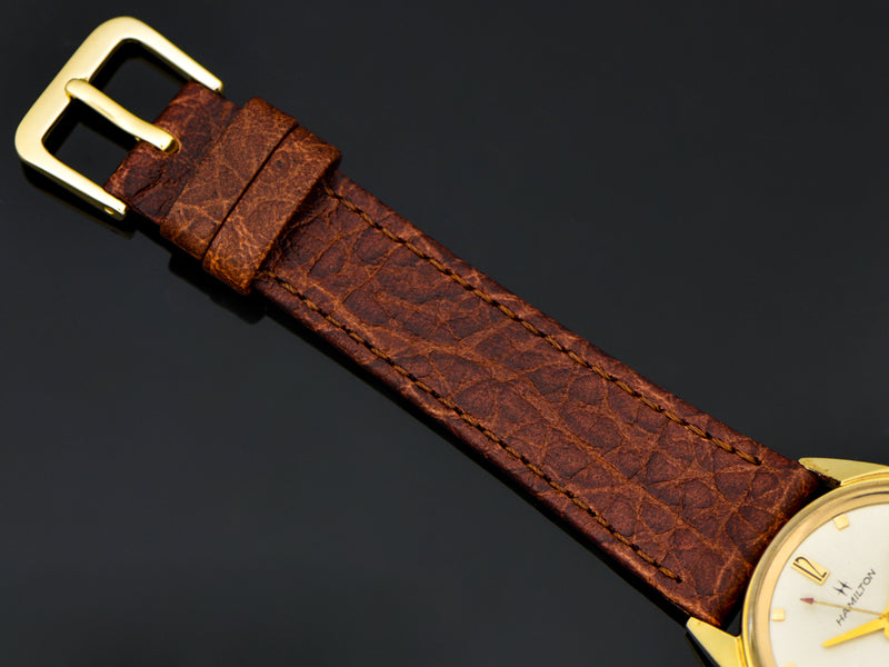 Brand new genuine Leather Brown Calf Grain Watch Band with Matching Gold Colored Buckle