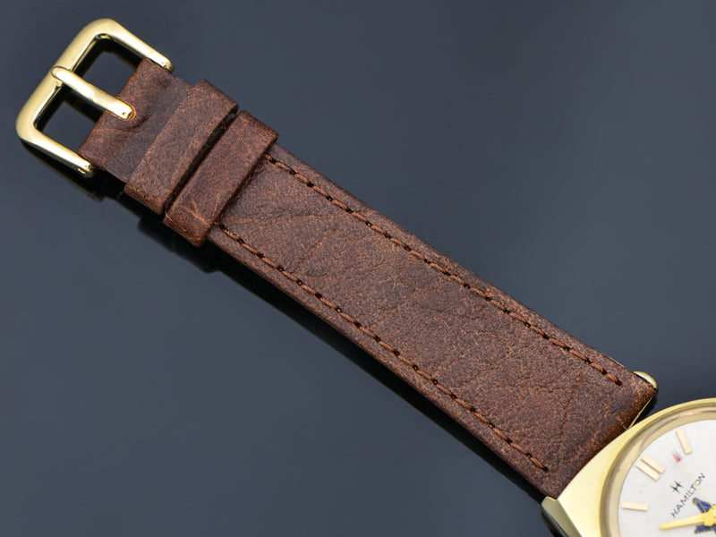 Brand new genuine Leather Brown Calf Skin Watch Band with matching Gold Tone Buckle
