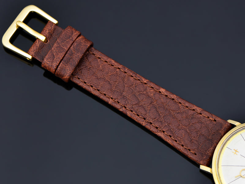 Brand new genuine Leather Thin Brown Watch Band with Matching Gold Colored Buckle