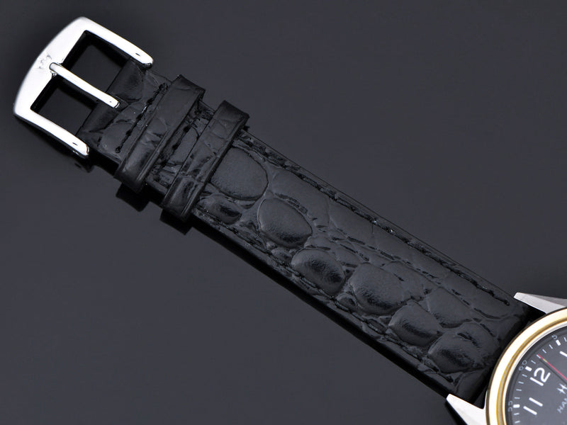Brand new genuine leather Black Crocodile Grain Watch Band With Matching Silver Colored Buckle