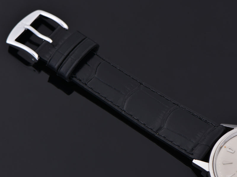 Brand New Genuine Leather Black Alligator Grain Band with matching Silver Colored Buckle