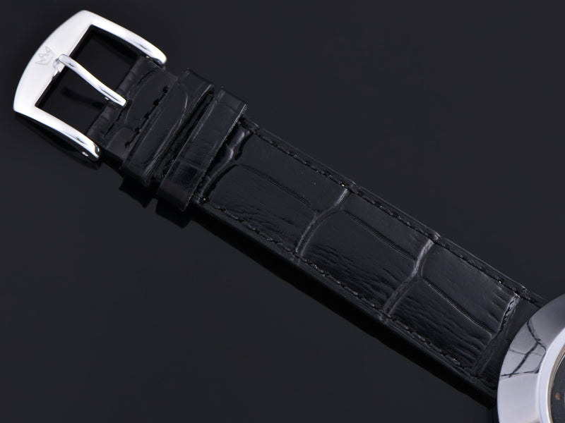 Brand New Genuine Leather Black Alligator Grain Band with matching silver tone buckle